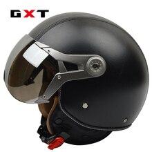 GXT in vera pelle vintage retro 3/4 t vintage scooter Harley casco moto capacete cascosopen faccia moto caschi