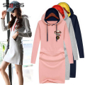 Fashion European Style Unisex Casual Pullover Mini Dress Sweatshirt Jumpers Sweaters Fashion Autumn Dress Plus Size S-3Xl