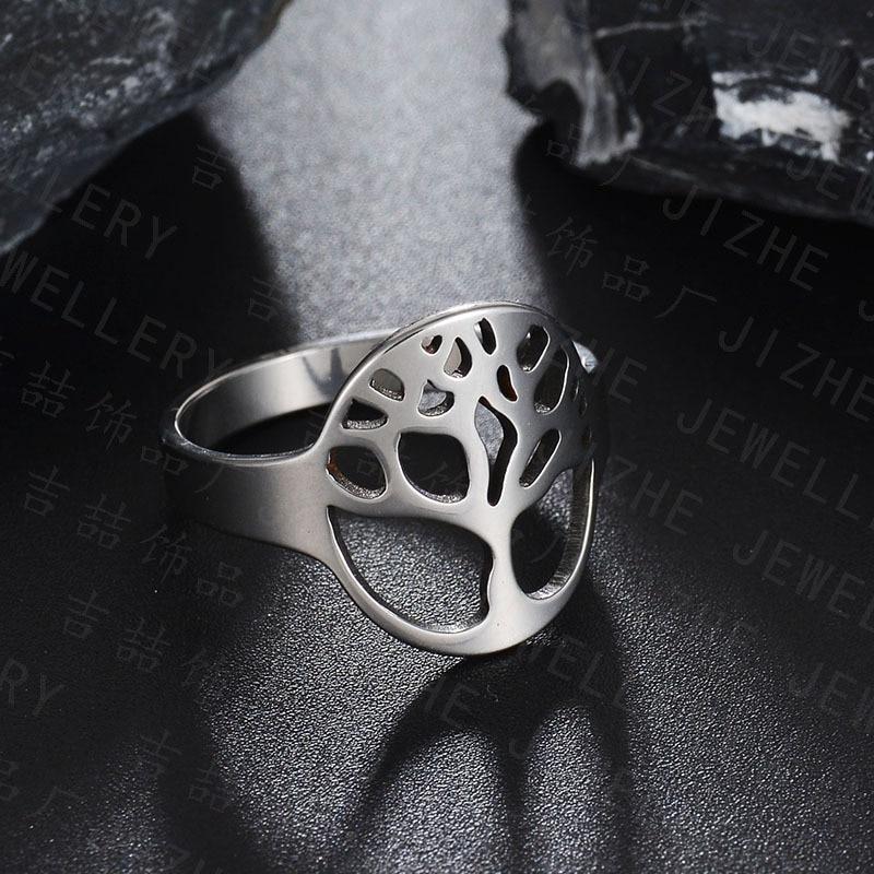 Tree Enement Ring   She Weier Punk Rings For Men Women Male Female Silver Mood Tree Of