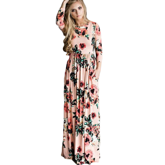 Elastic Waist Slim Maxi Dress O-Neck Long Sleeve Elegant Evening Party  Dresses 2017 Floral Printed Plus Size Office Dress Pocket ee25d6154823