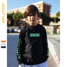 INFLATION 2019 Autumn Boys Long Sleeve Tshirt O-Neck Tops Children Black Color Thin ST9201