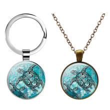 Sea Turtles Keychain Bag Pendant Sea Turtle Cabochon Glass Key Chain Ring(China)