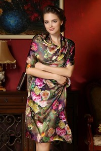 Image 2 - Women Winter Long Scarf Shawl Spring Autumn Female Genuine Silk Scarves Printed Summer 100% Mulberry Silk Beach Cover ups 2017