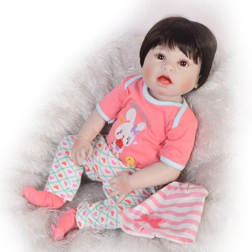 55 cm peau blanche Reborn bébé poupées Silicone corps Reborn poupée vraie fille Reborn bambin poupée et rose sucette cadeau pour filles jouets