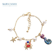 New Hot Fashion Ocean Style Cute Cartoon Crab Seahorse Pearl Personality Girl Boho Pendant Charm Bracelet For Womens Jewelry