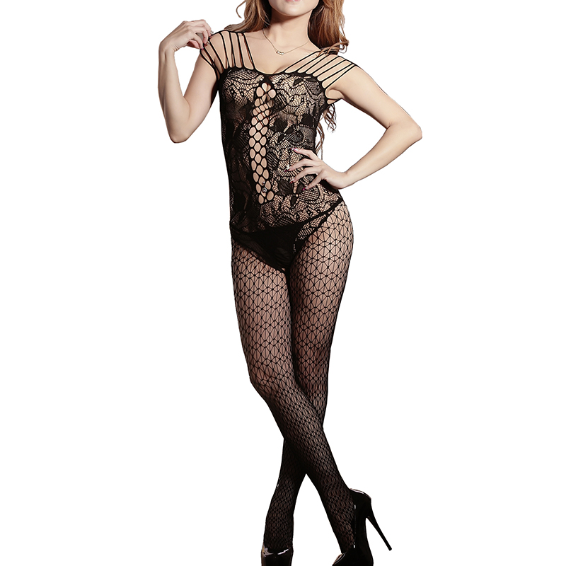 2016 Woman Sexy Lingerie Costumes Open Crotch Mesh Fishnet Sleepwear Sex Toy Lingerie Mujer Babydolls Ladies' Teddy Bodystocking(China)