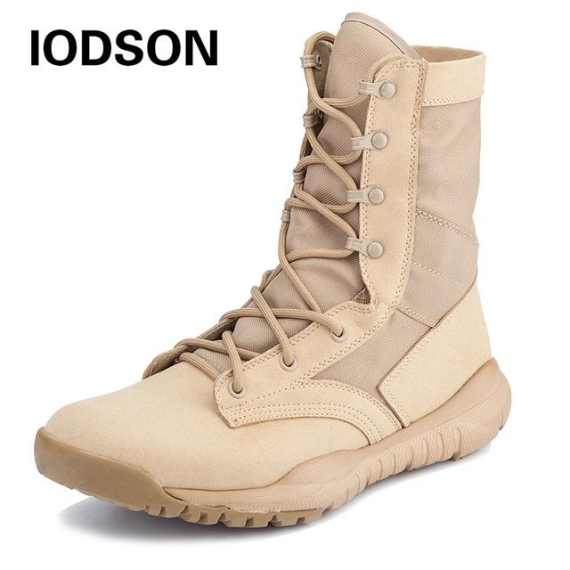 RU Stock Outdoor Military Tactical Boots Side Zip Combat Shoes Special  Force Training Boots Desert Ankle Shoes Black and Beige 11b59959aff