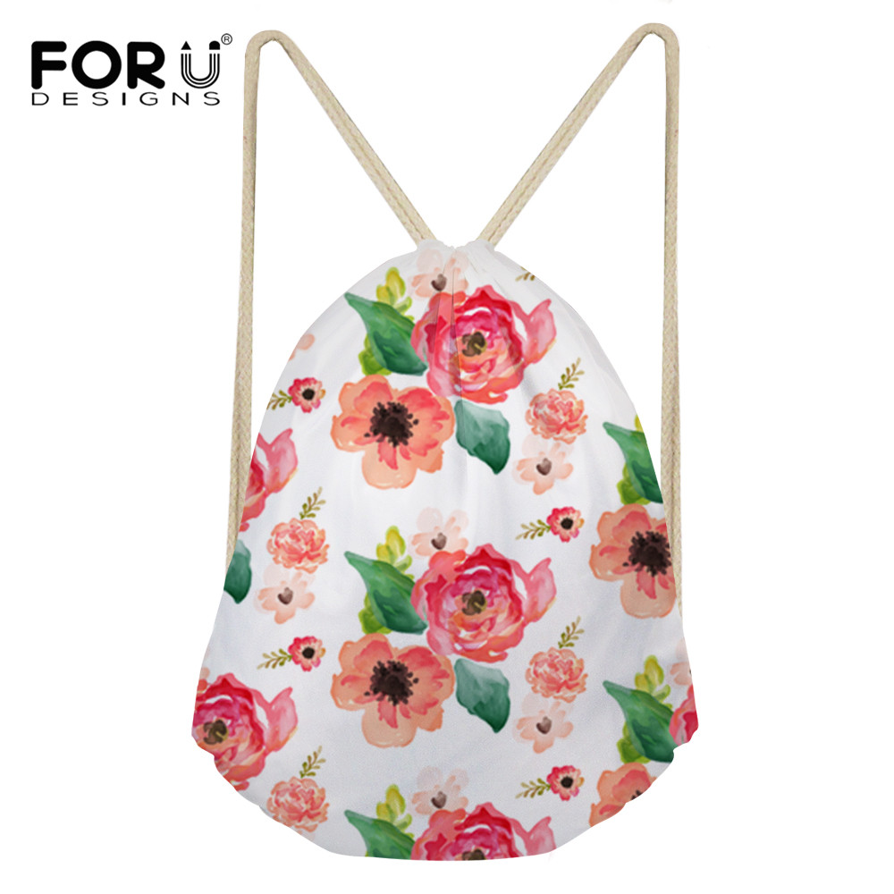 FORUDESIGNS Floral Dreams White Pink Printing Women Drawstring Backpack Student Travel Softback Mochila Drawstring Bag Harajuku