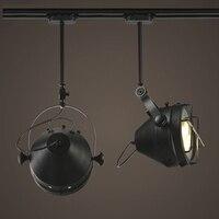 Лофт Промышленные эластичный потолок LampTrack огни Бар Костюмы Ретро трек лампа Винтаж поглощают свет купола светодиодный COB шарика пятна