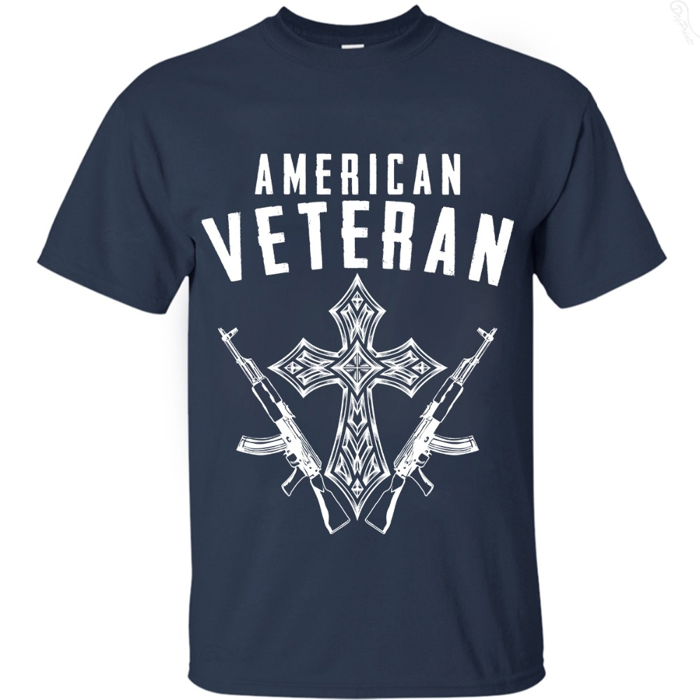 2019 hot man t-shirt Summer short sleeve print American Veteram tee , EU size, fast shipping