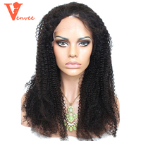 4B4C Afro Kinky Curly Full Lace Front Human Hair Wigs For Women Natural Black Wig 150 Density Virgin Venvee