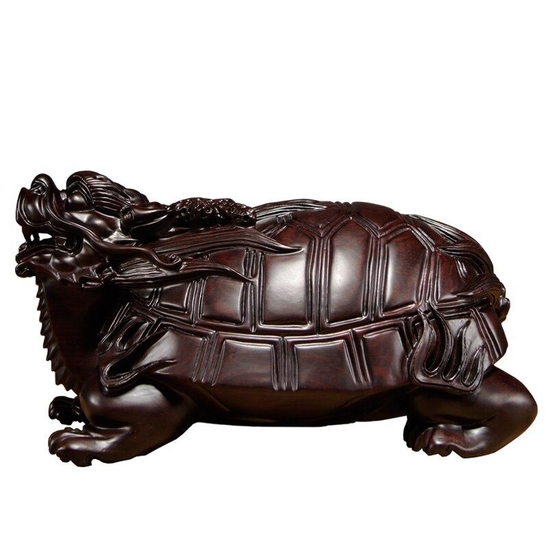 Ébène sculpté Dragon tortue ornements en bois massif bête basaltique voiture maison accessoires salon Feng Shui artisanat - 5