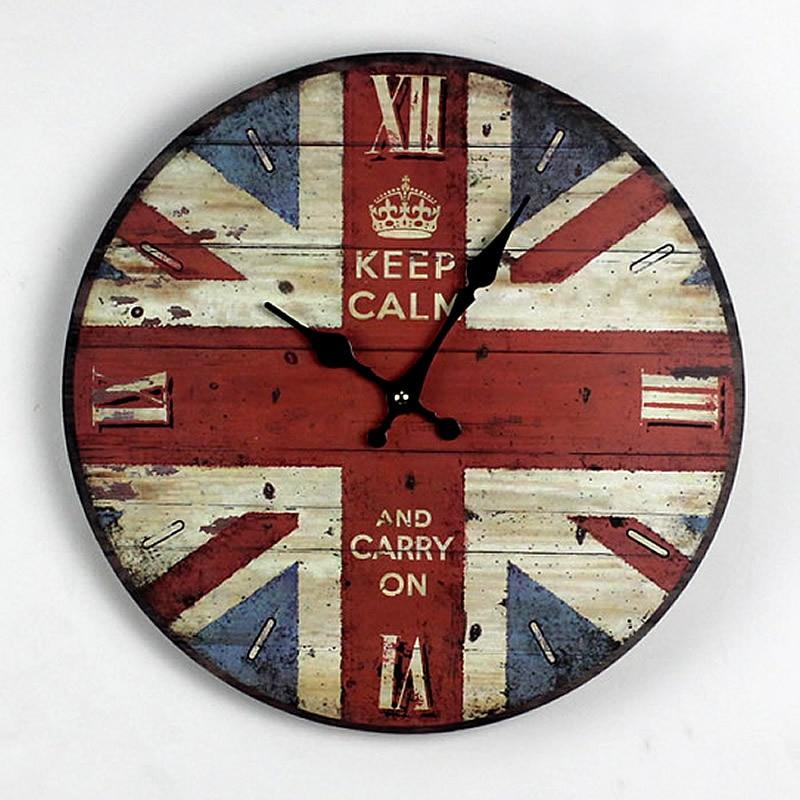 Zakka Nostalgie British Style British Flag Holz Wanduhr Kuche