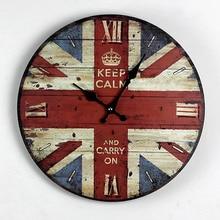 Zakka Nostalgia British Style British Flag Wood Wall Clock Kitchen Electronic large Decorative Wall Clocks Gifts