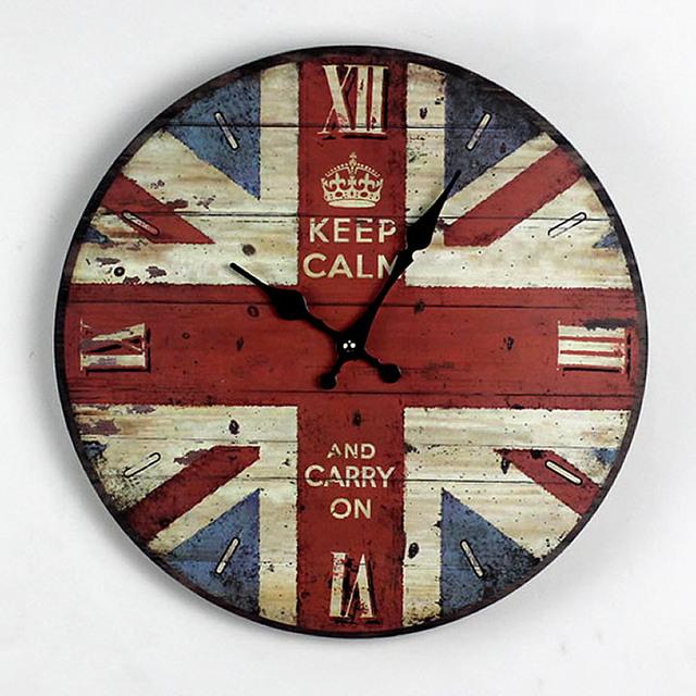 Zakka Nostalgia British Style British Flag Wood Wall Clock Kitchen Electronic large Decorative Wall Clocks Gifts Home Decor 35CM
