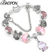 eb66190d0 BAOPON Dropshipping New Cartoon Charm Bracelets For Children Crystal Murano  Beads Pandora Bracelets & Bangles Pulseras Mujer