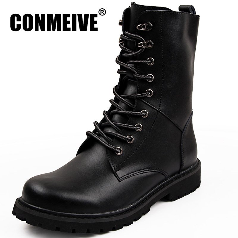 Fashion Casual Men Winter Shoes Genuine Leather Men Boots Comfortable Keep Warm Work Shoes Round Toe Lace-Up Military Boots jkw5c 6 reactive power compensation controller for power factor capacitor 6steps 380v cos power