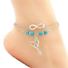 Fashion Silver Infinity Barber Hairstylist Scissor Charm Natural Beads Beach Ankle Women Anklet Bracelet Foot Chain Jewelry