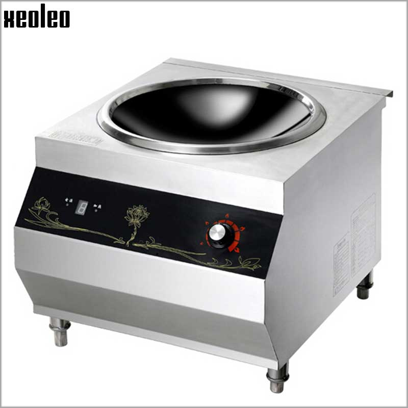 XEOLEO 8000W Commercial Concave Induction Cooker Stainless steel Electromagnetic Heating Cooker Electromagnetic Stove 380V