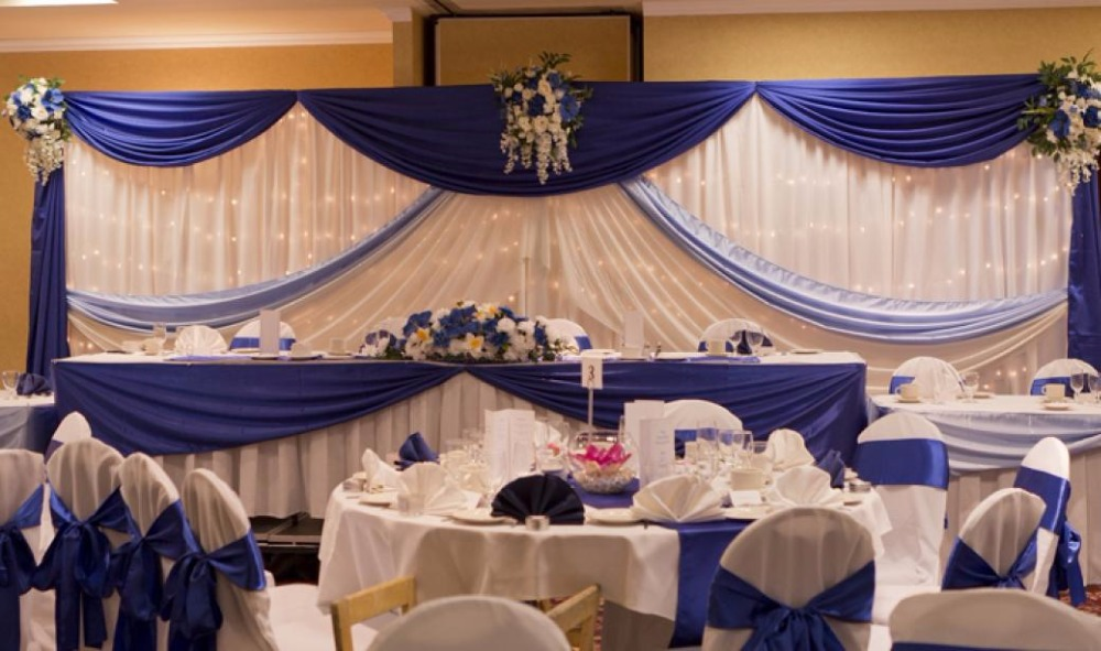 Loyal blue with white wedding backdrop wedding stage for Background curtain decoration