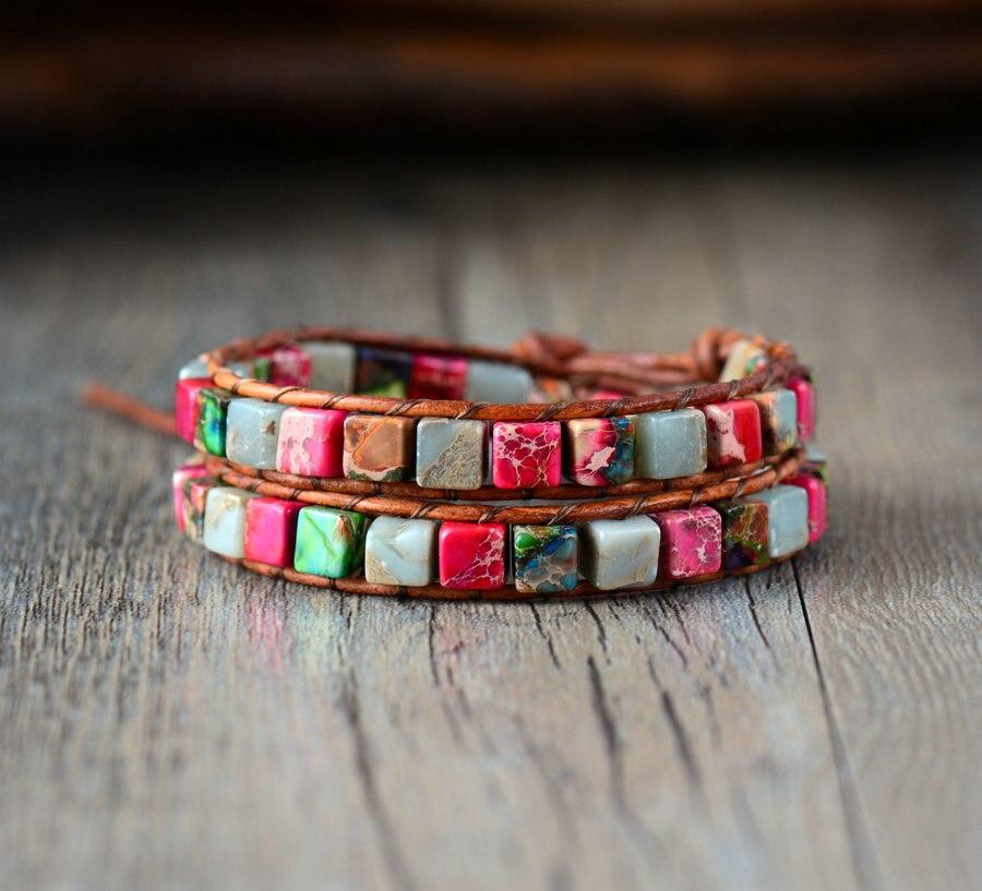 Boho Women Bracelet High Quality Mix Natural Jasper 2 Strands Leather Wrap Bracelets Vintage Weaving Bead Bracelet Handmade bracelet