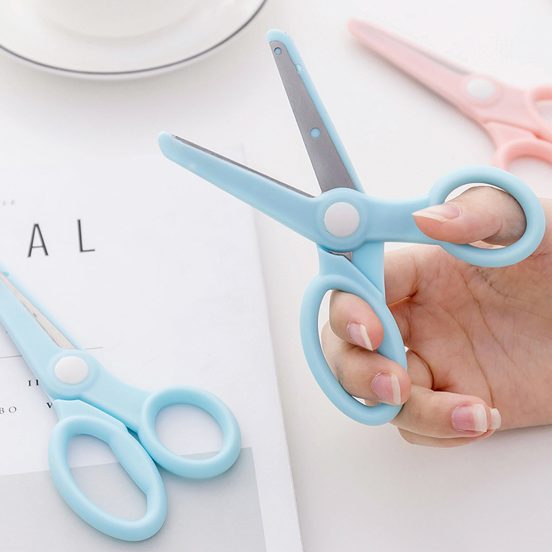 1Pc Creative Stationery Kawaii Solid Color Paper Handmade Scissors for Children Students DIY Photo Scrapbooking Cutting Supplies 4