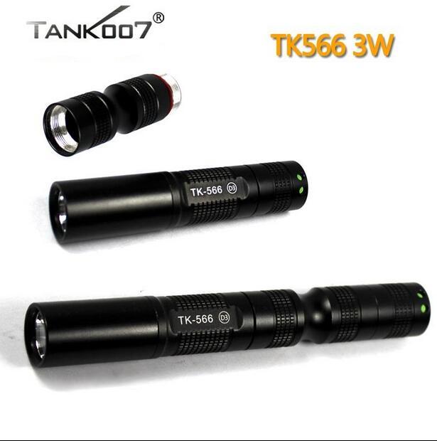 TANK007 TK-566 HAIII 365nm 3W LED UV Flashlight torches by 14500 AA battery