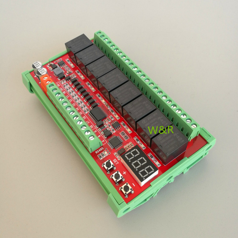Modbus RTU 8 Way Serial /RS485 Relay Module / Optocoupler Isolated /8 Road Input /8 Road Output