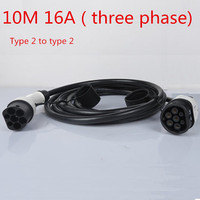 10M Cable 16A Three Phase IEC62196 2 Mennekes Type 2 To Type 2 EV Connector Electric Vehicle Charging Station Ev Plug