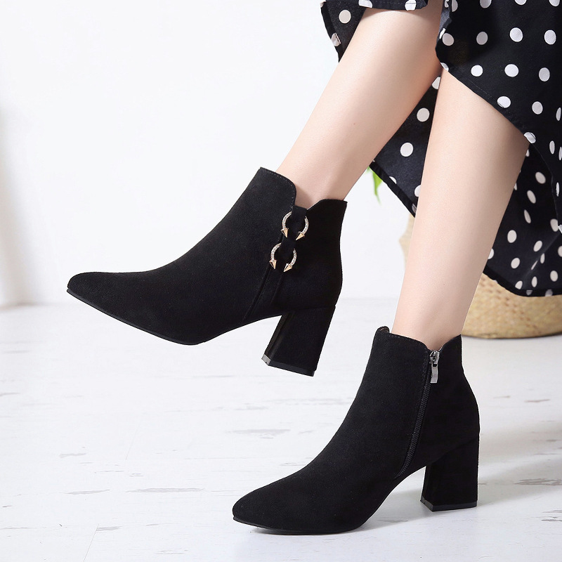 2019 Spring Autumn Women Boots New Fashion Casual Ladies Flock Short Boots Female Middle Heeled Boots M8D261 (31)