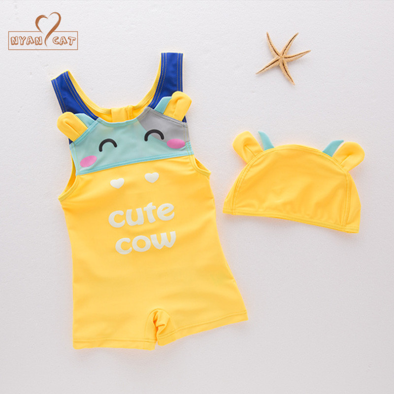 Nyan Cat Baby boys summer Cute Cartoon cow animal swimsuit+hat set 2 colors infant toddl ...