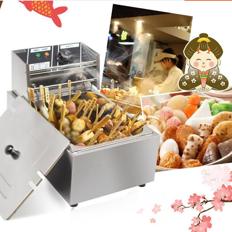 цена на 220V Commercial Electric Oden Machine 5.5L Multifunctional Fryer Stainless Steel Electric Cooking And Frying Machine EU/AU/UK
