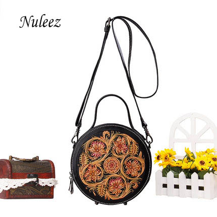 Nuleez genuine cowhide leather hand engraving flower women bag Chinese vintage style fashion bag 2019 summer new promotionNuleez genuine cowhide leather hand engraving flower women bag Chinese vintage style fashion bag 2019 summer new promotion