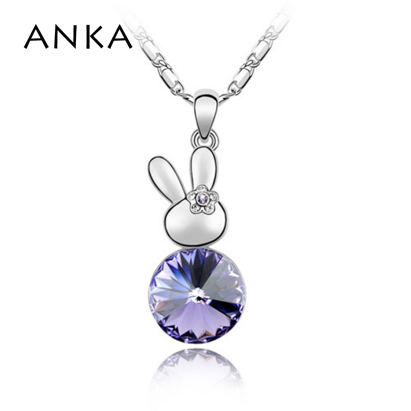 ANKA bunny crystal hare baby rabbit pendant necklace jewelry gift for women rhodium plated Crystals from Swarovski #82210