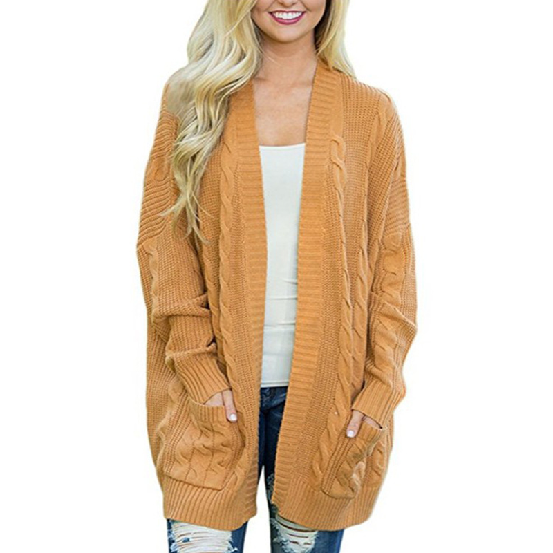 Womens Ladies Chunky Cable Knit Cardigan Button Long Sleeves