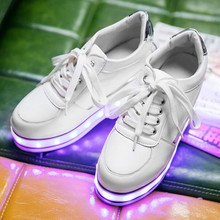 Free Shipping Led Shoes Women's Valentine Fashion USB Rechargeable Light Up For 7 Colors Luminous Women Height Increase Shoes(China)