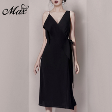 Max Spri 2019 New Summer Fashion Party Dress Solid Black V-neck Sleevesless Lace Up Sheath Club Office Lady