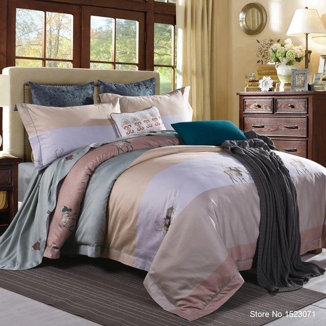 Роскошный Египетский хлопок постельных принадлежностей синий цвет красный, желтый золотой атласной пододеяльник устанавливает Oriental Винтажный стиль постельное белье