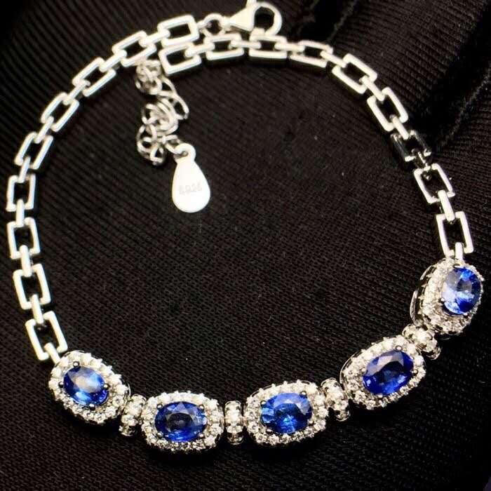 Natural Unfired Sri Lankan Sapphire Bracelet, Main Stone 5A Class Sapphire, Main Stone Size 4*5mm, 925 Silver Seiko Mosaic rights of sri lankan women migrant workers in middle east