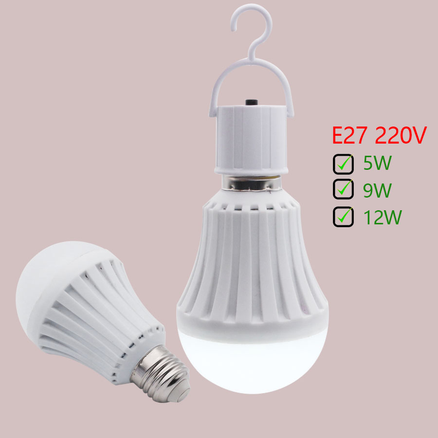 Emergency E27 Bulb 5W9W12W LED Bulb Smart Night Lights Intelligent AC Charging Rechargeable Battery Energy Saving Lamps