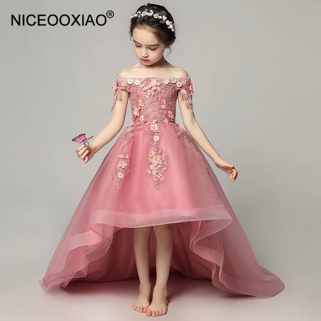 6d7547bccf NICEOOXIAO Pink Trailing Flower Girl Dress Boat Neck Embroidered Beautiful Evening  Dress Performance Birthday Dress BNLF611