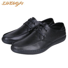 2017 New Mens Casual Shoes Soft Cow Leather Male Lace-Up Flats Spring Comfortable Shoes Original Brand Blue Deluxe Student Shoes