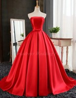 Red Evening Dress Real Pictures Long Strapless Backless High Quality 2017 Robe Longue De Soiree Femme