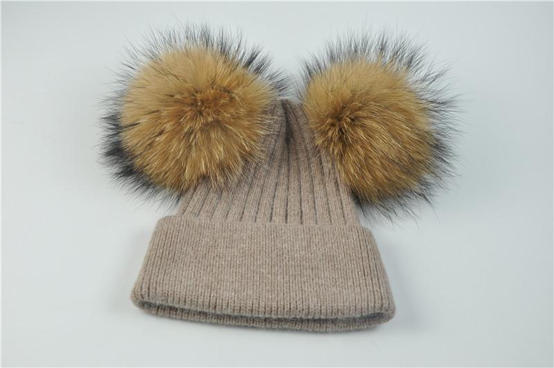 Dupla De Pele Pom Pom Mulheres Chapéu Do Inverno Feminino de Lã ... 8ac88e8cf8b