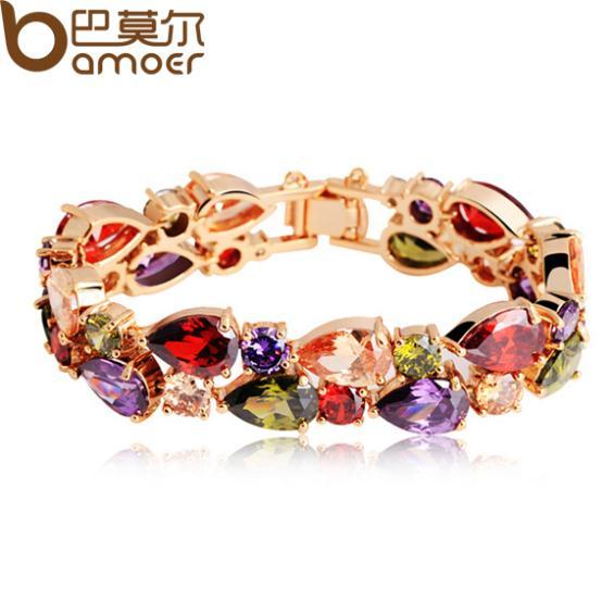 BAMOER de alta calidad oro Color de rosa de la Mona Lisa Zircon pulsera para mujer Multicolor CZ piedras tienda especial JIB001