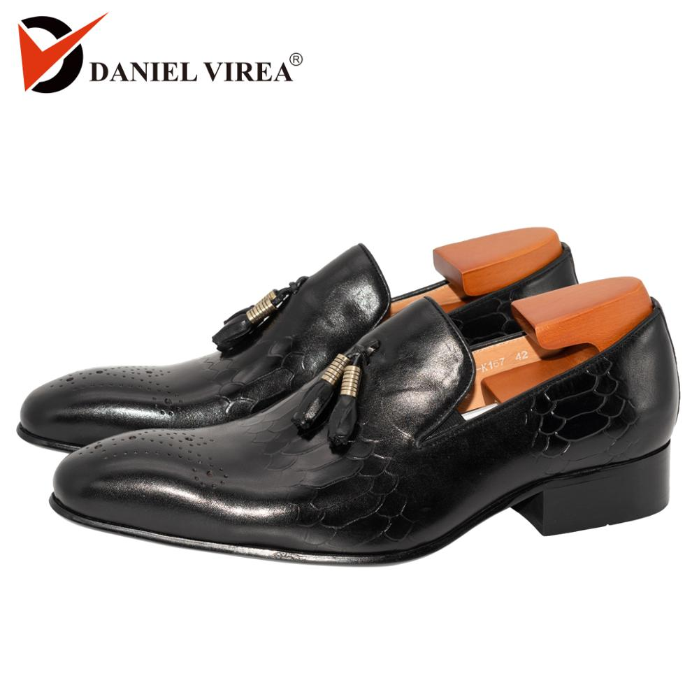 Autumn Winter Men Casual Loafers Office Luxury Brand Leopard Print Black Formal Basic Genuine Leather Slip-on Dress Shoes