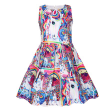 2019 Summer Toddler Dress Girls Sleeveless Unicorn Print Clothes Kids Pretty Princess Dress pretty girls