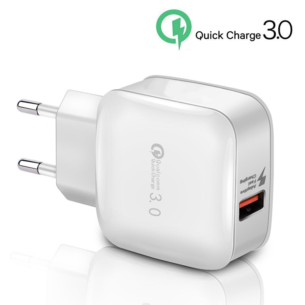 QC3.0 Fast Quick Charge USB Mobile Phone Charger Adapter Travel Wall Charging Head Plug 2.4A for iPhone 6 7 8 Samsung Smartphone