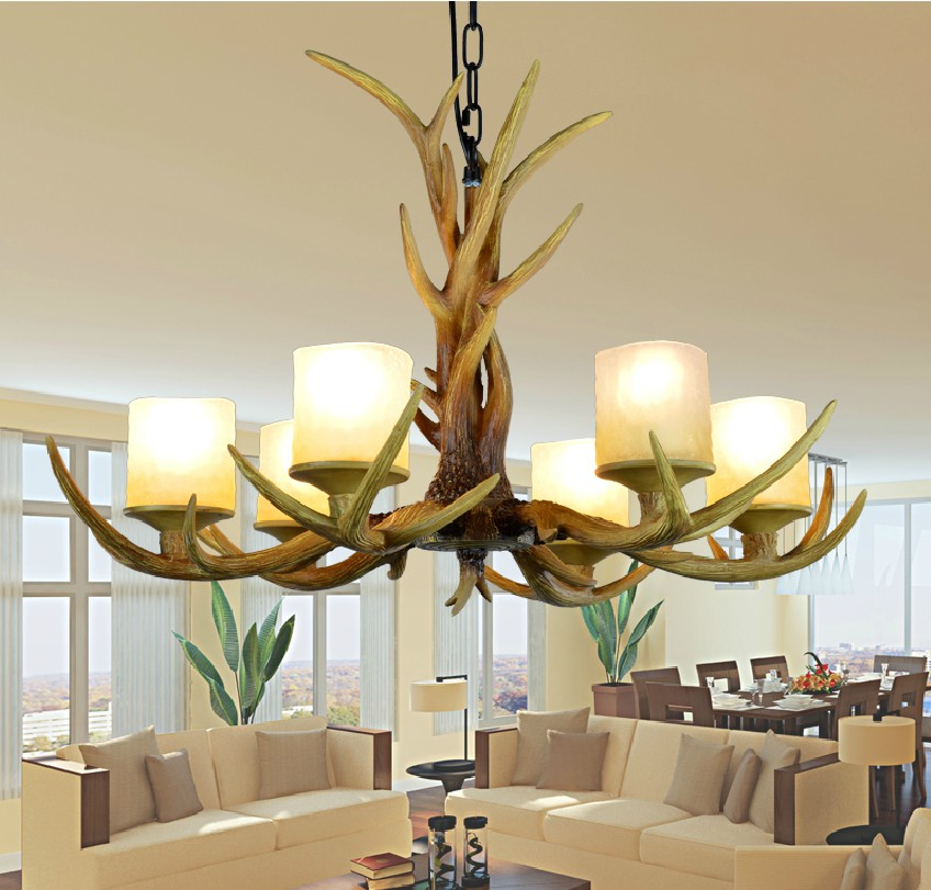 Europe Country 6 Heads American Retro Chandelier Light Resin Deer Horn Antler Glass Lampshade Decoration  E27 110 220V|retro chandelier lighting|glass lampshades|retro chandelier - title=