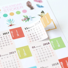Colorful Cartoon Design 2018 Calendar Sticker 11 5 21cm DIY Index Paper Stickers 2pcs lot Free